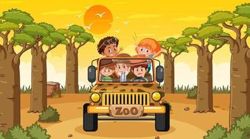 Forest at sunset time with many kids in a jeep car vector