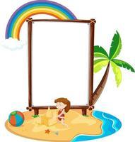 Empty banner template in beach scene isolated vector