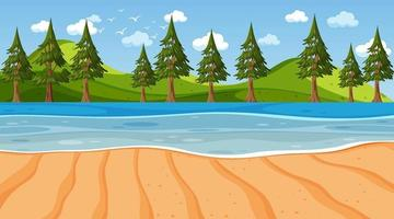 Empty beach scene with nature park background vector