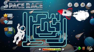 Maze game with space theme template vector