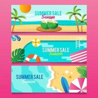 summer banner collection vector