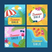 summer social media banner collection vector