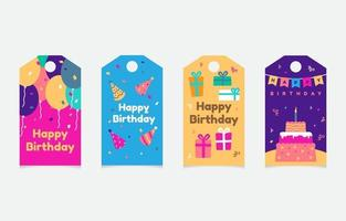 set of birthday tag collection vector