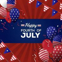 4th July Balloon background vector