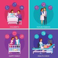 Ilustración de vector de concepto de diseño de dibujos animados de recién nacido de embarazo