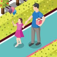 Gifts On Birthday Isometric Background Vector Illustration
