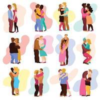 Love Hugs Set Vector Illustration