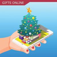 Gifts Online Isometric Composition Vector Illustration