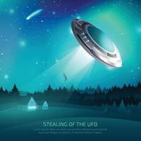 Alien Spacecraft Kidnapping Poster Vector Illustration