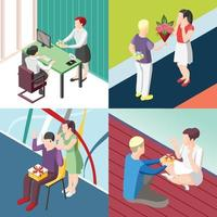 People With Gifts Isometric Concept Vector Illustration