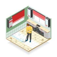 Home Cleaner Isometric Composition Vector Illustration