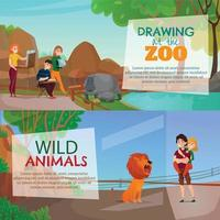 Zoo Visitors Horizontal Banners Vector Illustration