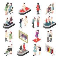 Fashion Industry Isometric Icons Vector Illustration