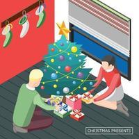 Christmas Presents Isometric Background Vector Illustration