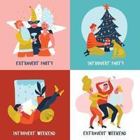 Extrovert Introvert Design Concept Vector Illustration