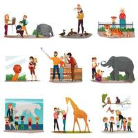 Zoo Visitors Set Vector Illustration