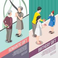 People With Gifts Isometric Banners Vector Illustration