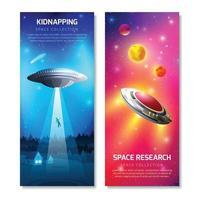 Alien Spaceship Vertical Banners Vector Illustration