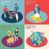 Crowdfunding Isometric Design Concept Vector Illustration