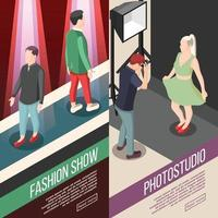 Fashion Industry Isometric Banners Vector Illustration
