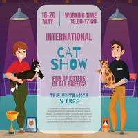 Cat Show Announcement Poster Vector Illustration