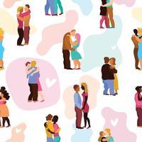 Love Hugs Seamless Pattern Vector Illustration