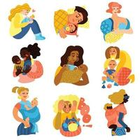 Motherhood Icons Set Vector Illustration