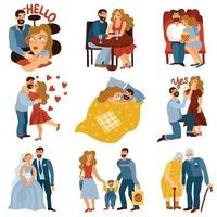 Developing Relations Set Vector Illustration
