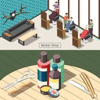 Barbershop Isometric Banners Vector Illustration
