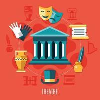Theatre Colored Composition Vector Illustration