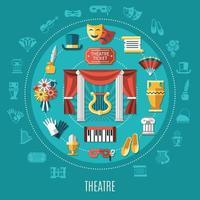 Theatre Round Composition Vector Illustration
