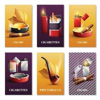 Tobacco Products Cards Set Vector Illustration