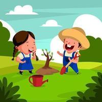Happy Gardener Couple Planting Tree vector