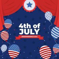 4th July Festivity Flat Background Design vector