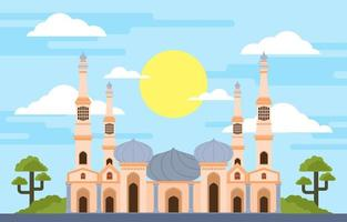 Grand Mosque And The Trees Illustration vector