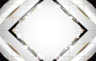 fondo cuadrado blanco y lujosos elementos negros vector