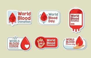 colección de pegatinas del día mundial de la sangre vector