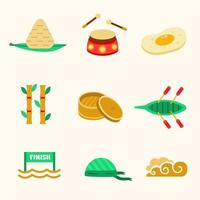 Dragon Boat Chinese Festival Icon Collection vector