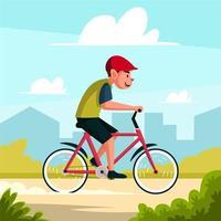 A Man Cycling Outdoor Activity Illustration vector