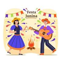 Festa Junina Brazil Festival Couple Dancing Illustration vector