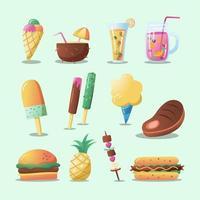 colección de iconos de comida y bebida de verano vector