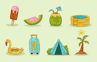 Hand drawn Summer Icon Collection vector