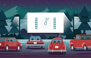 drive in movie beside the lake vector