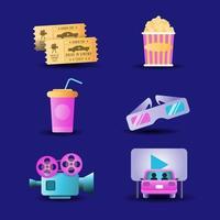 conducir en el paquete de iconos de cine vector