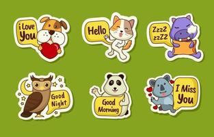 Animal Greeting Sticker Collection vector