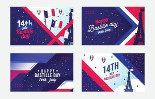 Bastille day card design vector