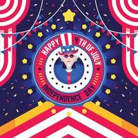 4th July Independence day flat illustrations vector
