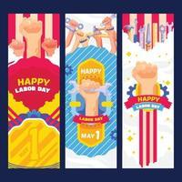 Happy labor day flat illustrations vector