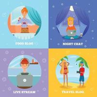 Bloggers Characters Flat Concept Square Vector Illustration