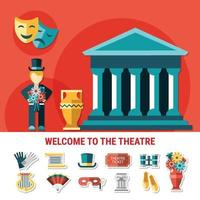 Theatre Flat Colored Composition Vector Illustration